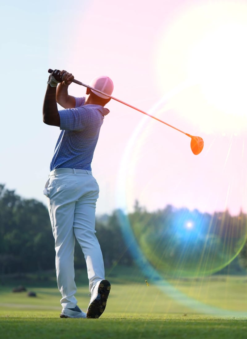 Golfer testing his luck at a local course near Marquis on Cary Parkway in Morrisville, North Carolina