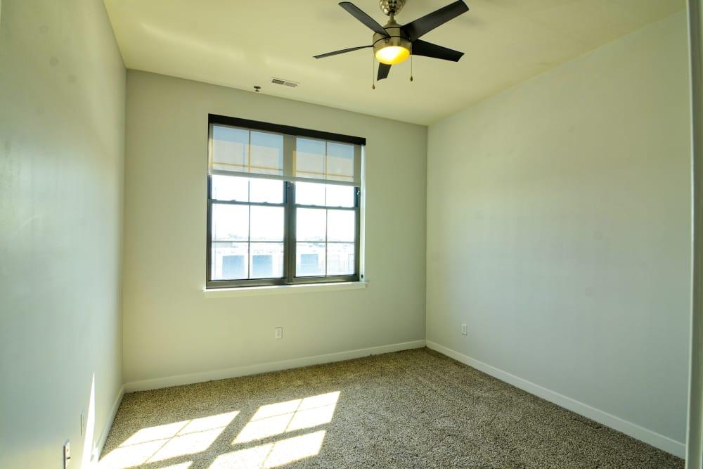 Bright bedroom at Steelyard in St. Louis, Missouri