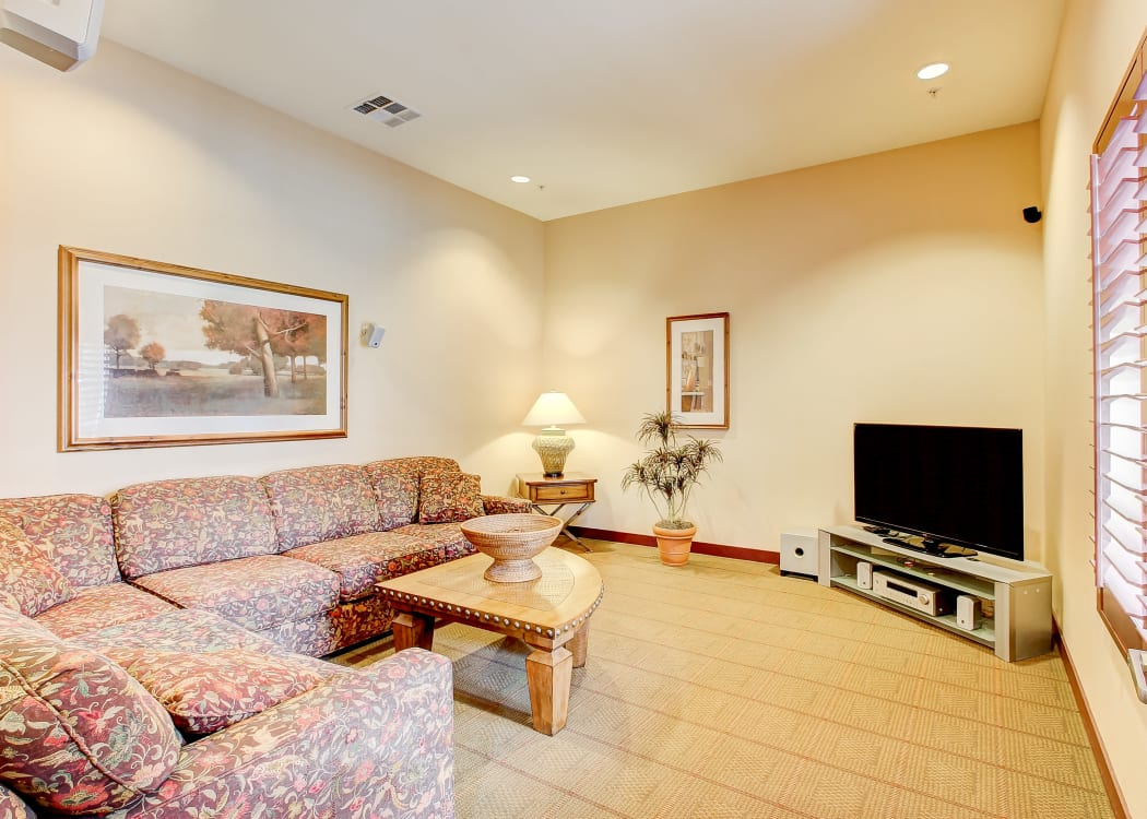 Living space in a model home at Eaglewood Apartments in Woodland, California