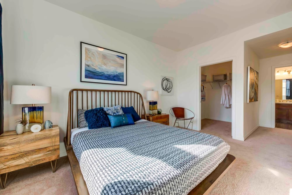 Pet Friendly Apartments in Chatsworth, CA - Sofi at Topanga Canyon Bedroom With Lush Carpet and Access to Bathroom Area
