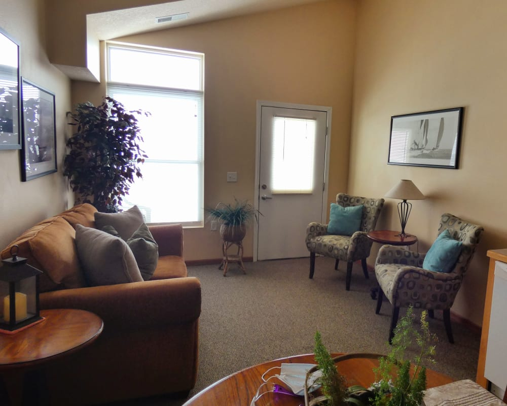 A cozy living room at The Lakeside Village in Panora, Iowa.