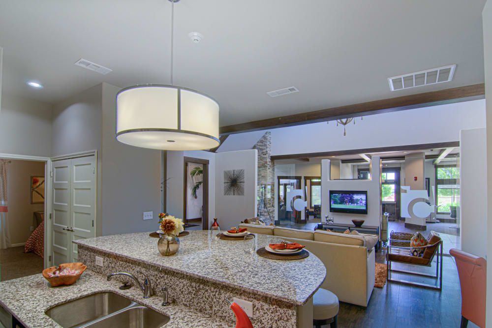 Contemporary model home kitchen at Tradan Heights in Stillwater, Oklahoma