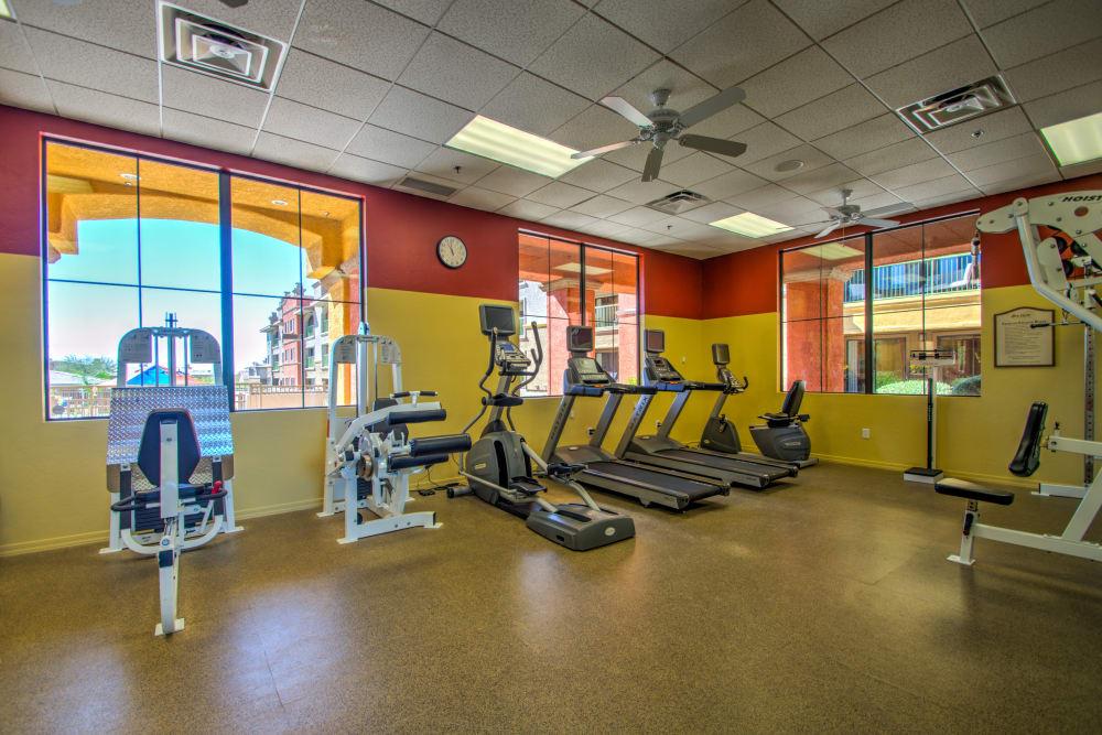 Treadmills in fitness center at Oro Vista Apartments in Oro Valley, Arizona