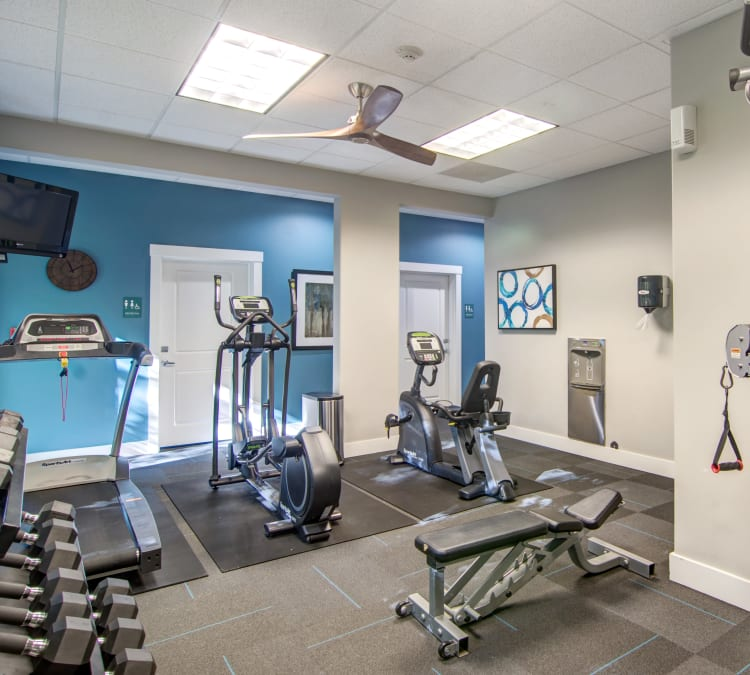 Cardio machines and exercise equipment in the onsite fitness center at Sofi at Forest Heights in Portland, Oregon