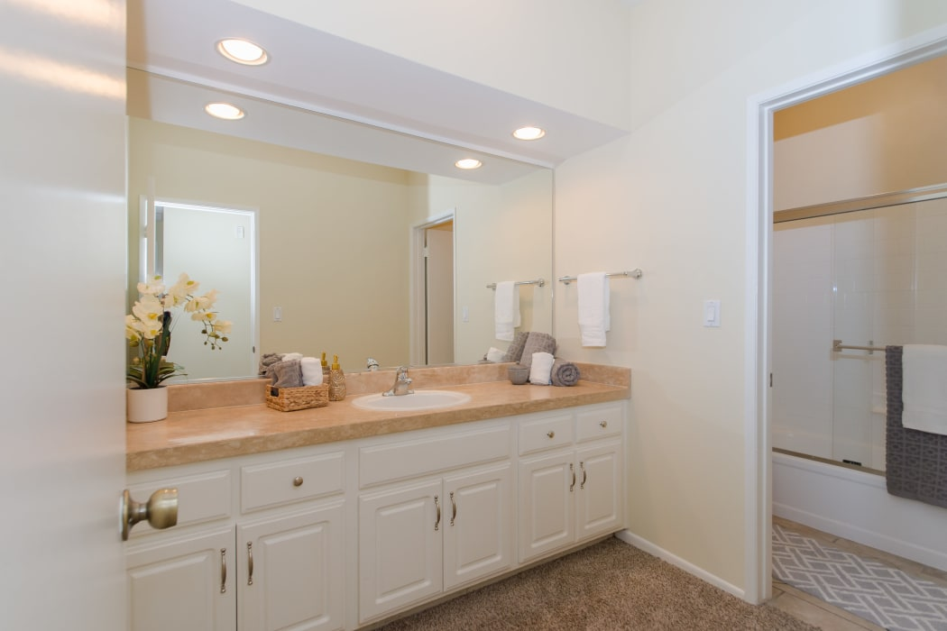 Spacious and elegant bathroom in model home at IMT Beverly Arnaz in Los Angeles, CA