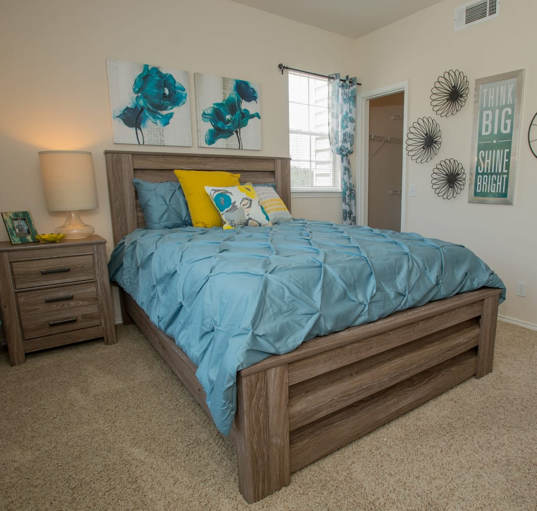 Stylish bedroom at Prairie Springs in Oklahoma City, Oklahoma