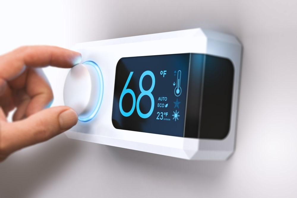 Climate-controlled storage unit thermostat at Devon Self Storage in Sunnyvale, California