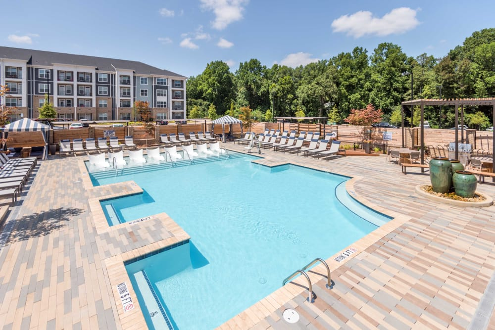 Pool at our lovely apartments at Leigh House Apartment Homes in Raleigh, North Carolina