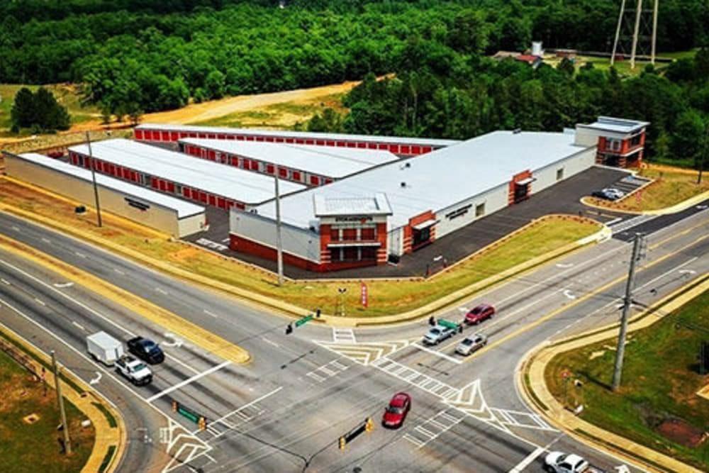An aerial view of Monster Self Storage in Warner Robins, Georgia