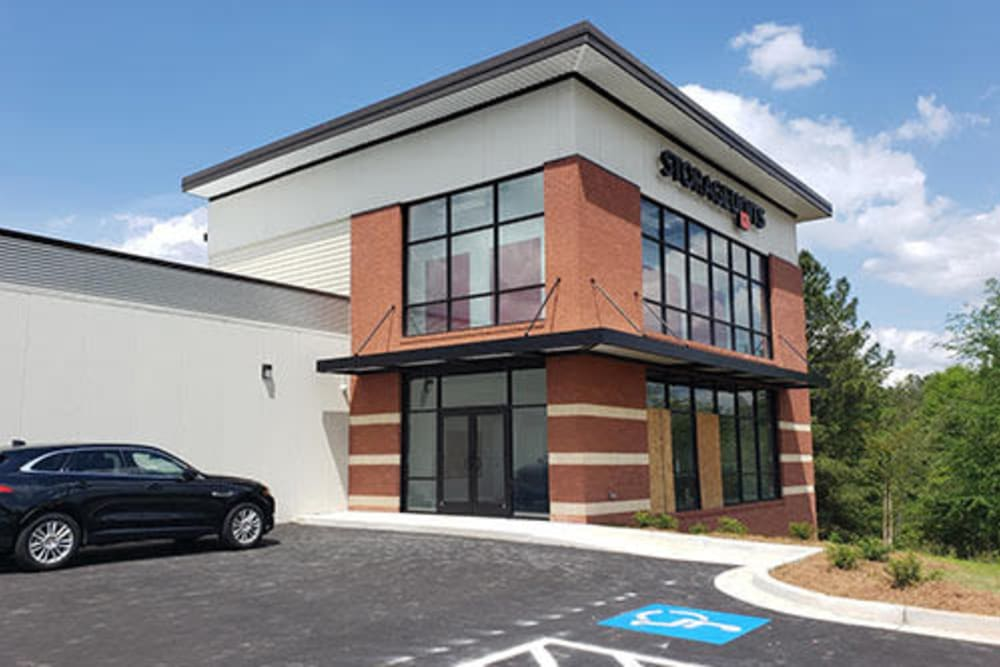 The exterior of the office at Monster Self Storage in Warner Robins, Georgia