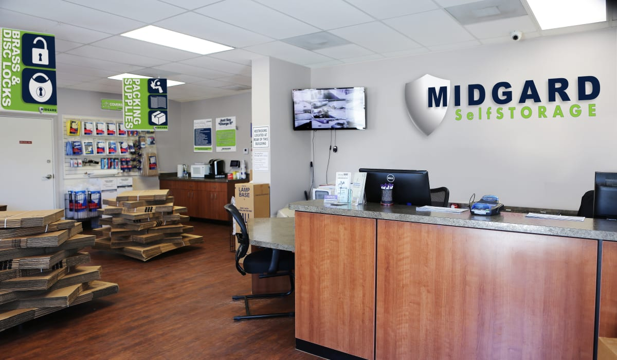 Leasing desk at Midgard Self Storage in Wilmington, North Carolina