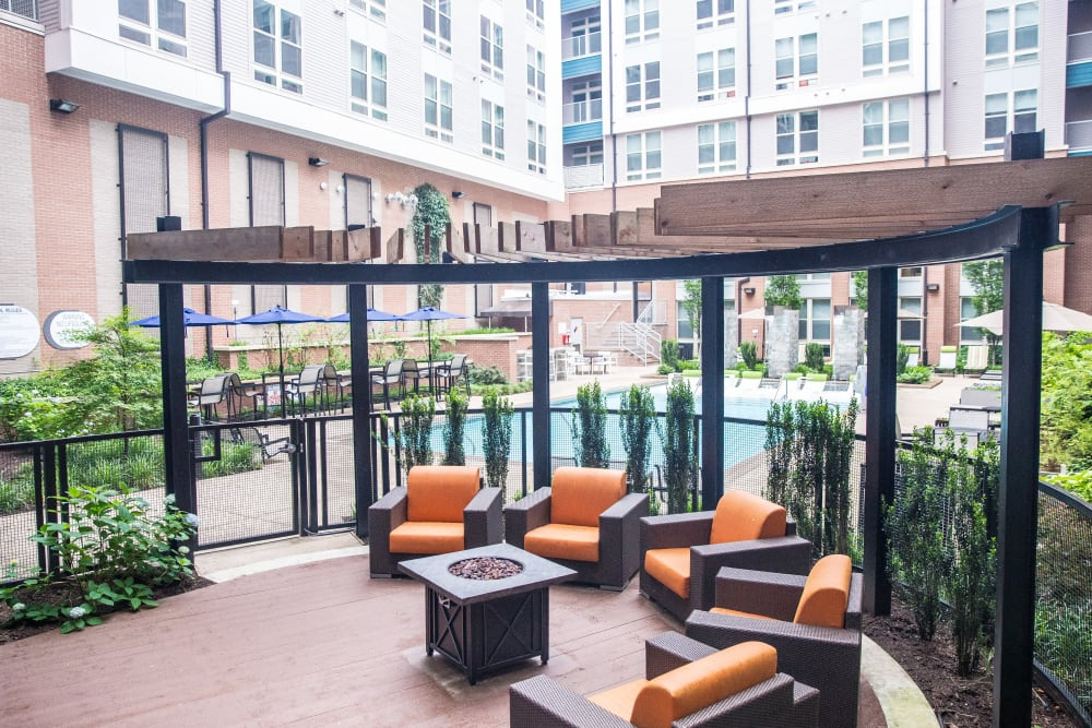Luxury private patio at apartments in Chapel Hill, North Carolina