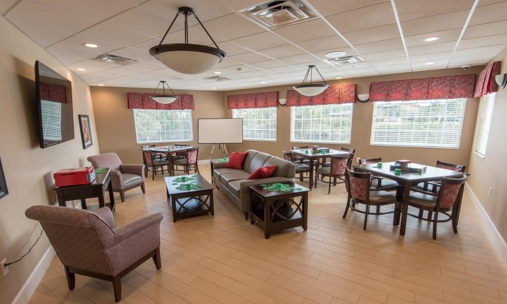 Resident game room at Inspired Living Bonita Springs in Bonita Springs, Florida.