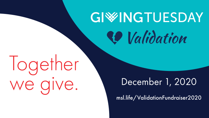 Giving Tuesday Flyer about Validation. Includes information about website to donate
