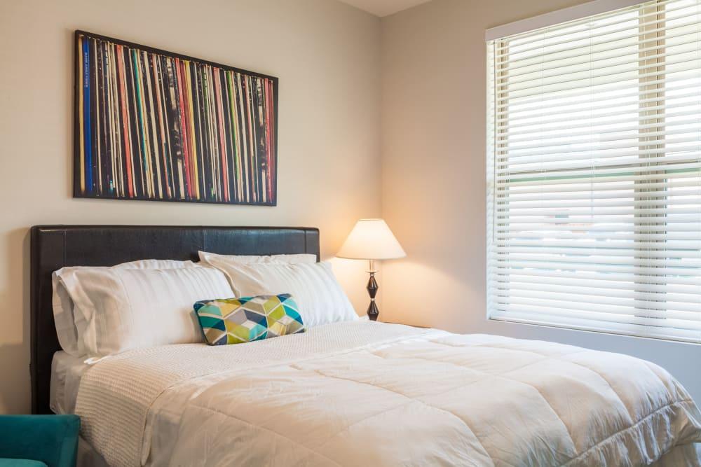 Comfortable model bedroom at Capitol Flats in Santa Fe, New Mexico