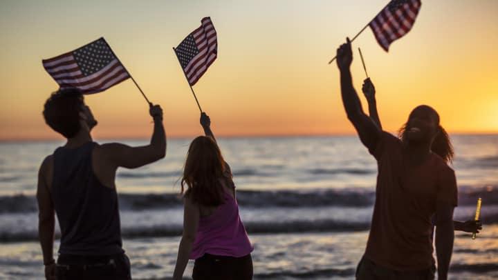 People waving flags