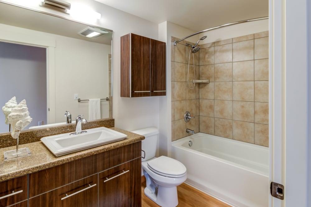 Clean bathroom at The 101 in Kirkland, Washington