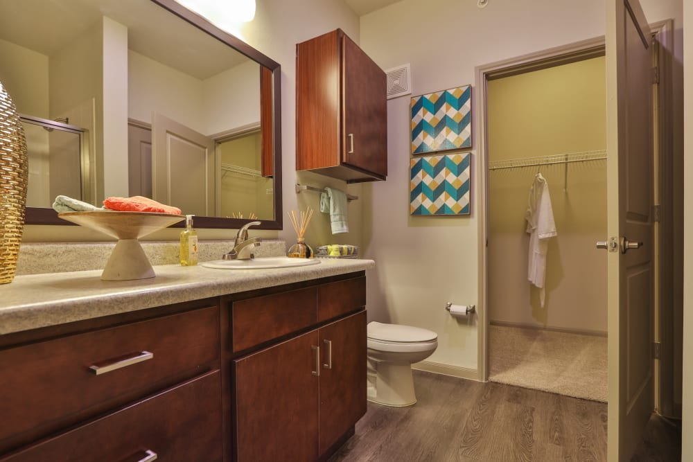 Contemporary bathroom layout at Olympus at Waterside Estates in Richmond, Texas