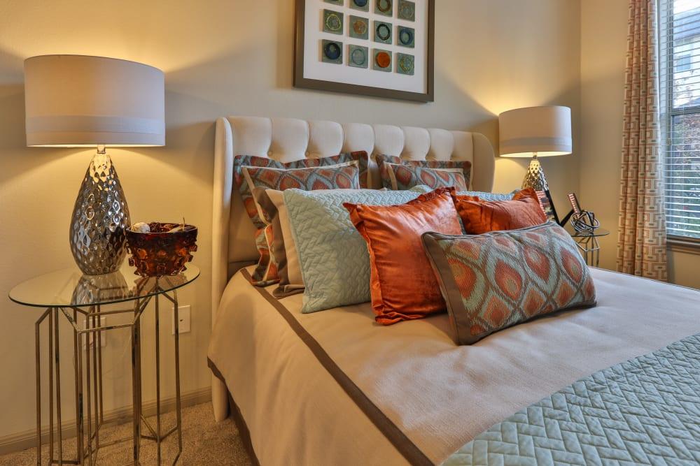 Master bedroom at Olympus at Waterside Estates in Richmond, Texas