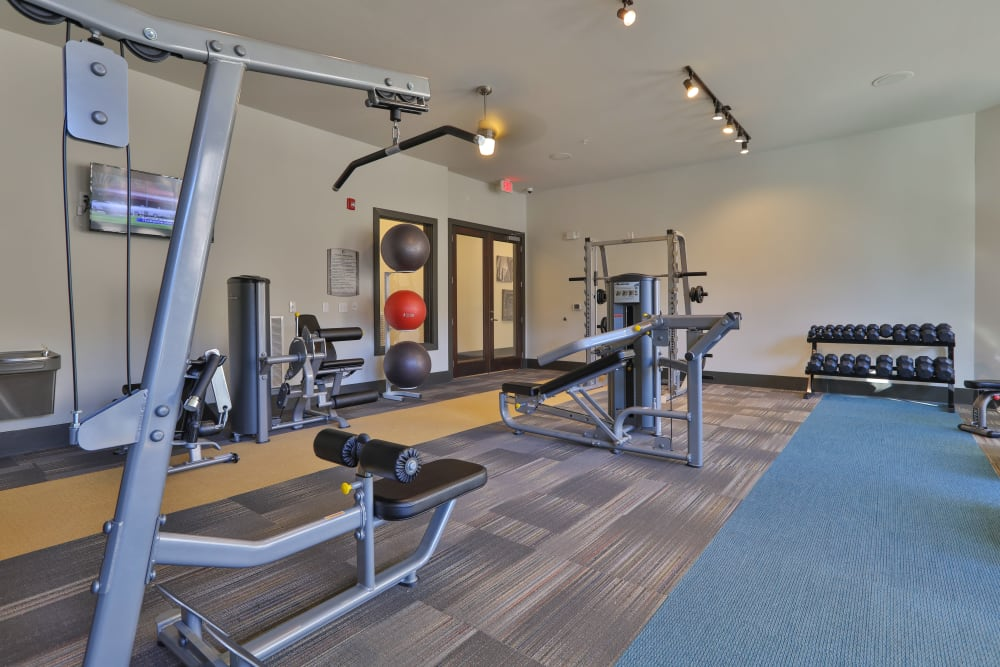 Yoga and spin studio space in gym at Olympus at Waterside Estates in Richmond, Texas