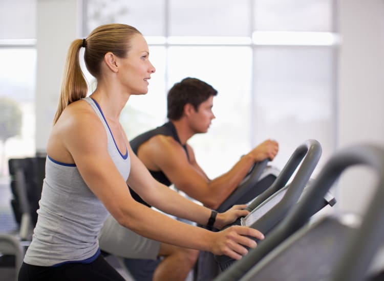 Young people exercising at Augusta Meadows fitness center in Tomball, Texas
