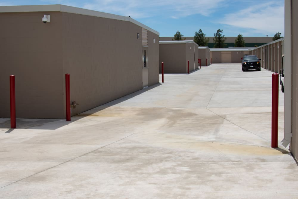Wide driveways to access storage units at Stanford Ranch Self Storage