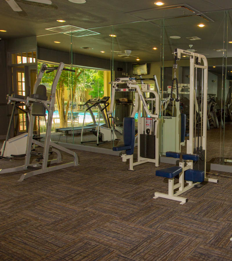 Lots of exercise equipment to choose from in the fitness center at The Lodge at River Park in Fort Worth, Texas