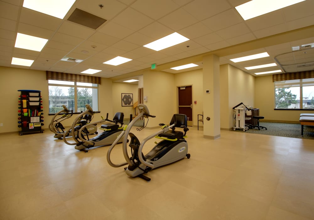 A therapy room at Mission Healthcare at Renton in Renton, Washington.