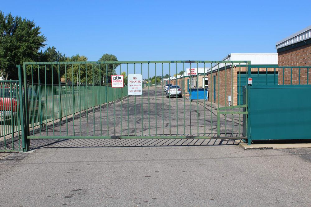 Security gate at Evans Self Storage