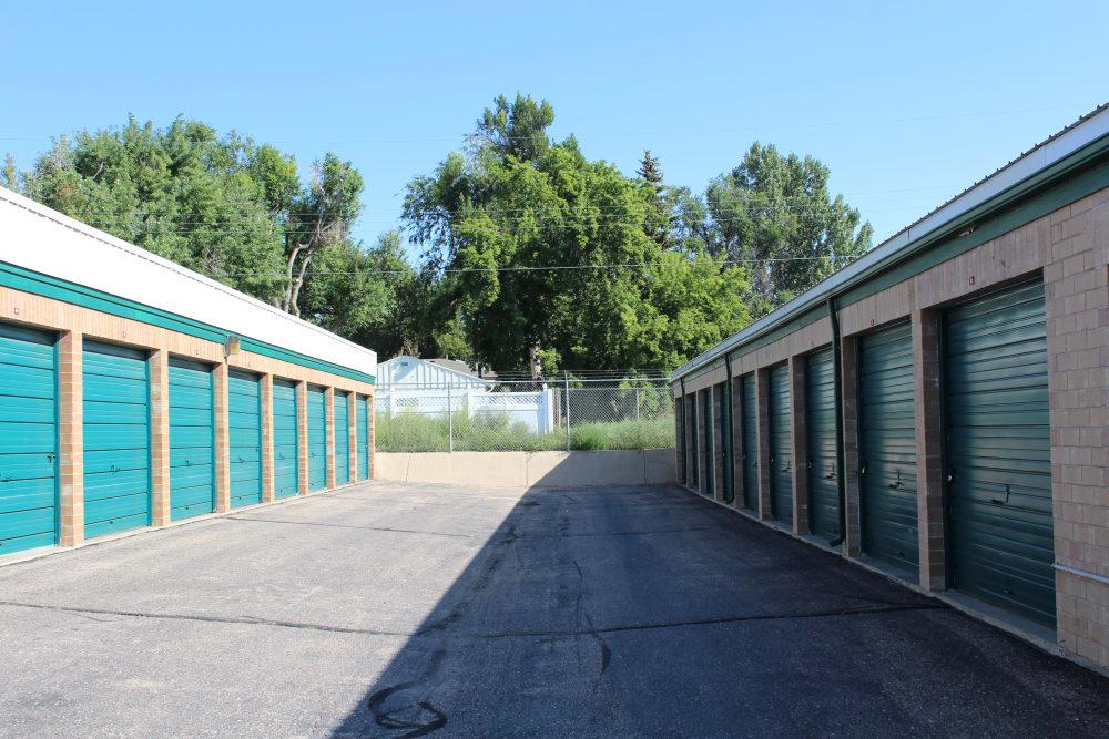 Exterior storage units at Evans Self Storage