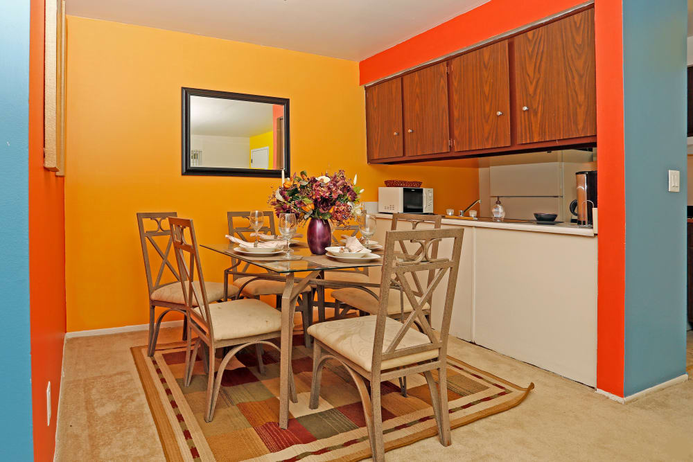 Utica Square Apartments offers a beautiful dining room in Roseville, Michigan