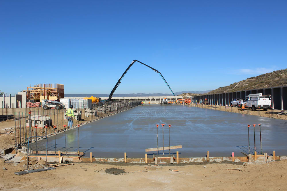 Pouring concrete for the C building at Silverhawk Self Storage