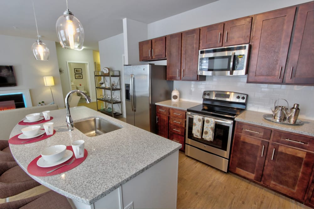Spacious kitchen at The Pointe at Dorset Crossing in Simsbury, Connecticut