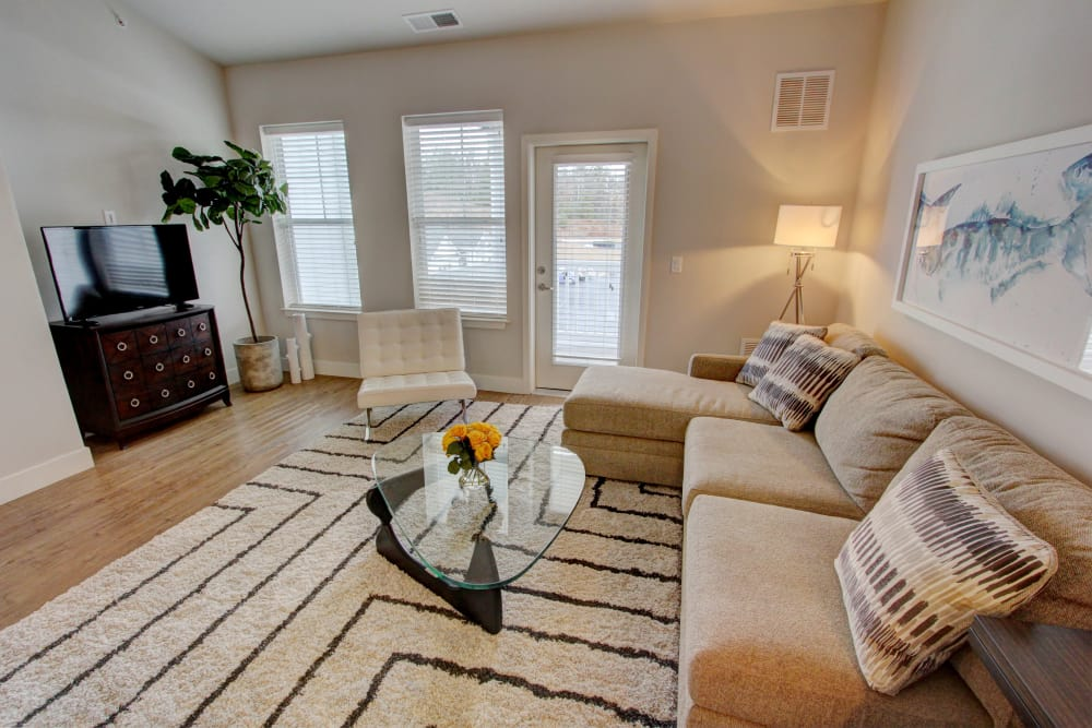 Newly renovated living room at The Pointe at Dorset Crossing in Simsbury, Connecticut