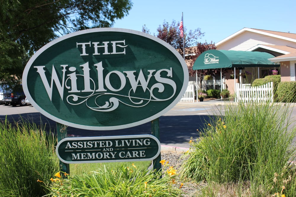 Front Sign At The Willows Retirement & Assisted Living in Blackfoot.