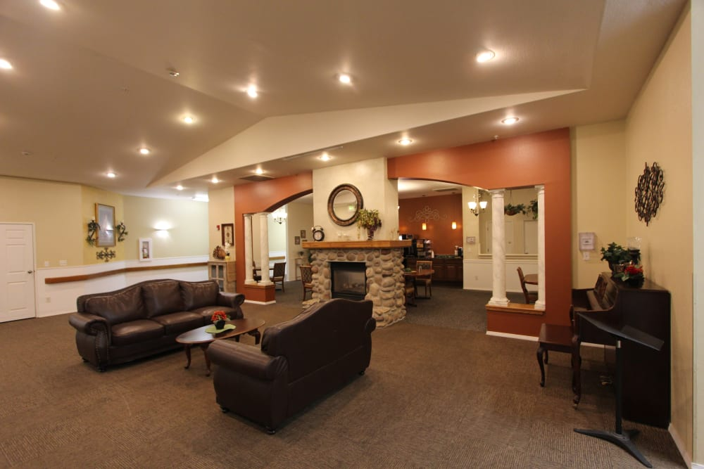 The Willows Retirement & Assisted Living Large Seating Area with Fireplace