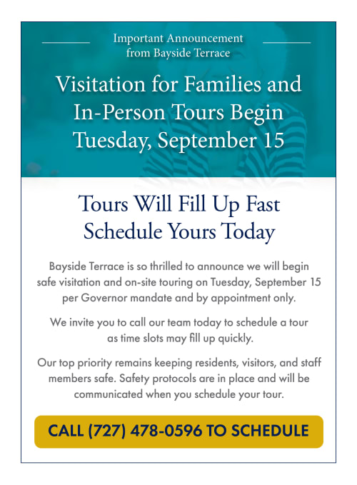 Visitation for families and in-person tours begin Tuesday, September 15. Call 727-478-0596 to schedule.