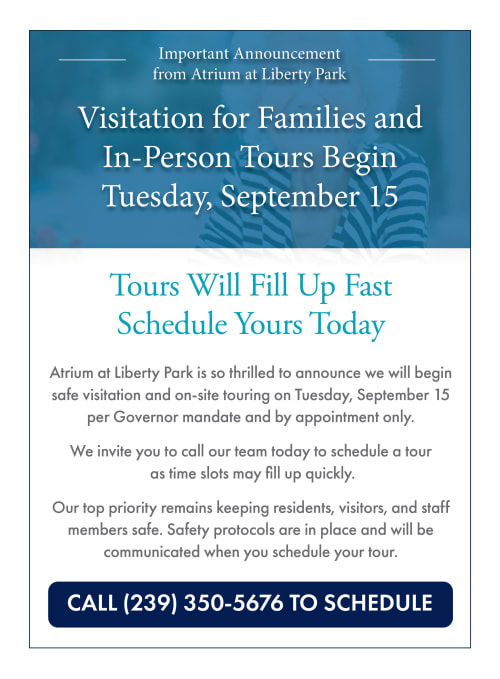 Visitation for families and in-person tours begin Tuesday, September 15. Call 239-350-5676 to schedule.