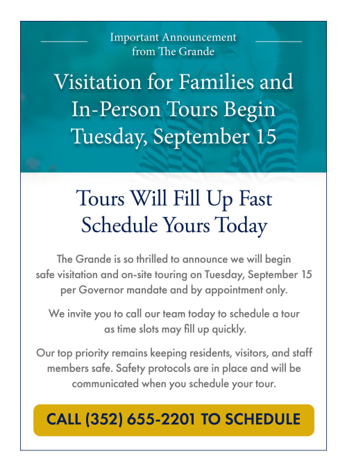 Visitation for families and in-person tours begin Tuesday, September 15. Call 352-655-2201 to schedule.