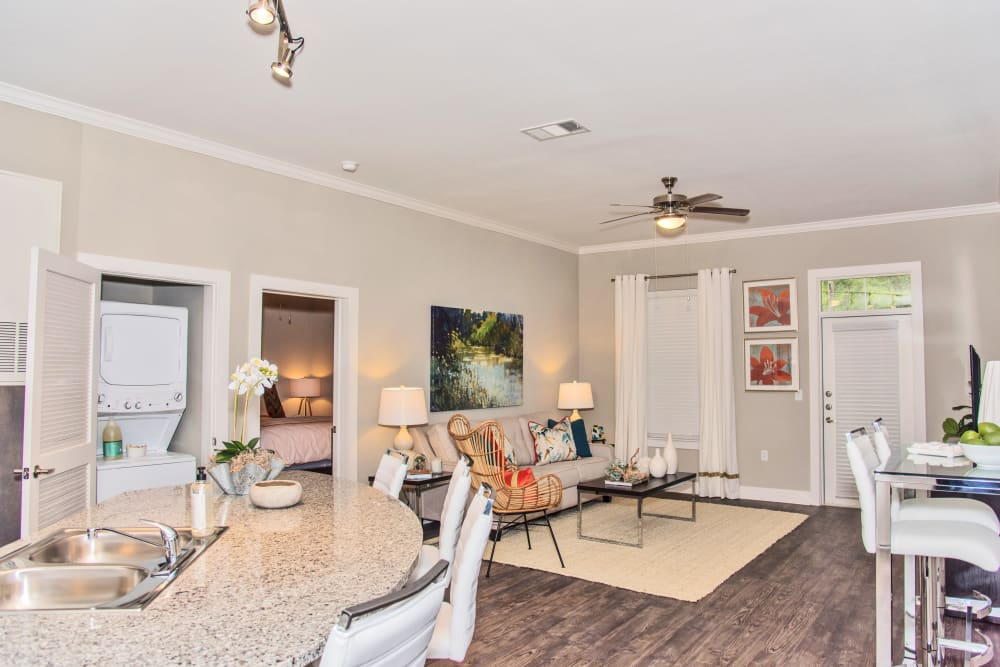 Dining and living room at The Reserve on Bayou DeSiard in Monroe, Louisiana