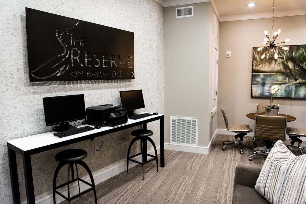 Business center at The Reserve on Bayou DeSiard in Monroe, Louisiana