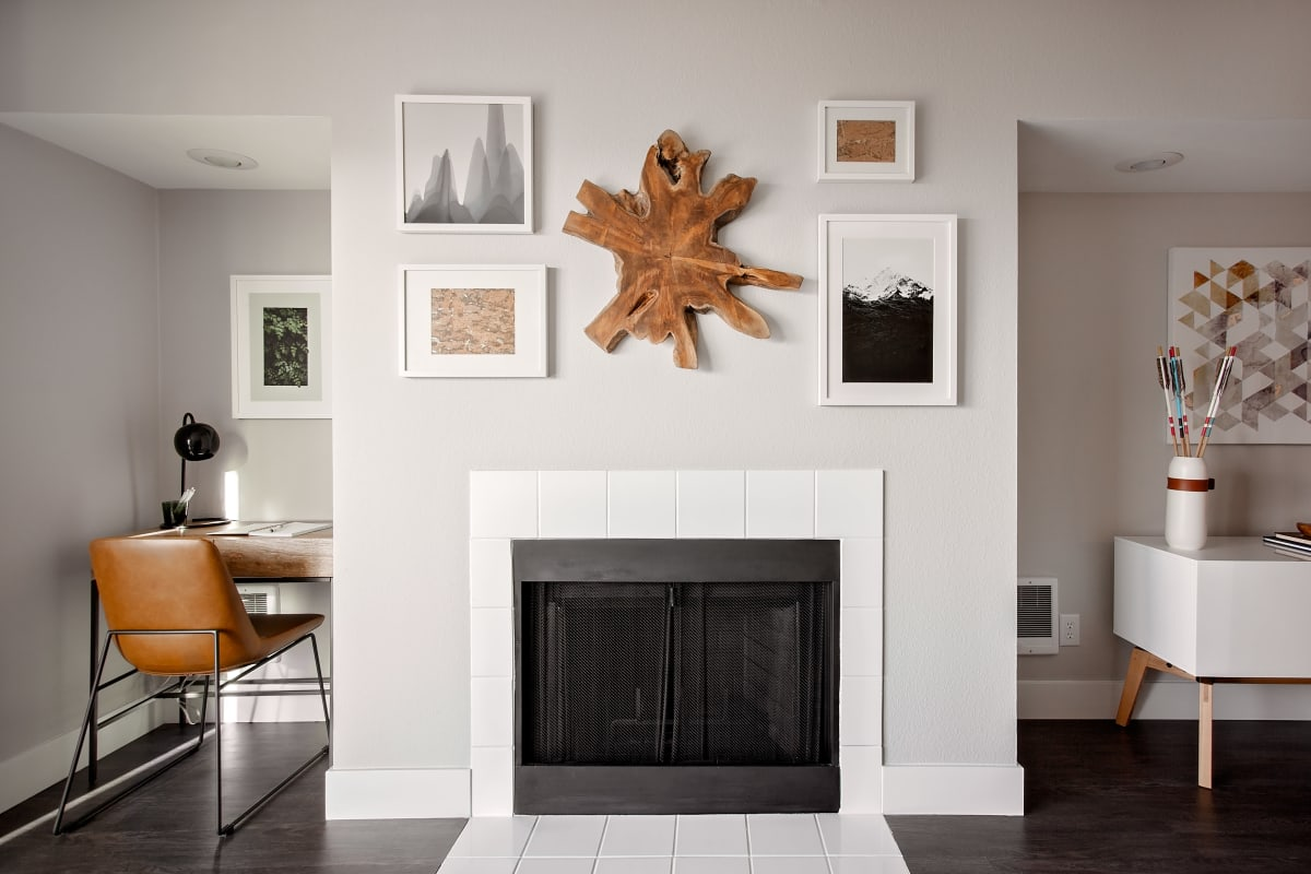 Fireplace and adjacent nooks in model home at MiLO at Mountain Park