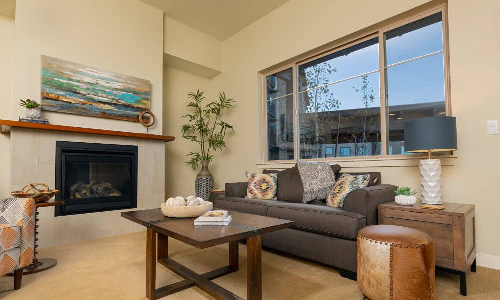 An assisted living apartment living room at Touchmark at Harwood Groves in Fargo, North Dakota