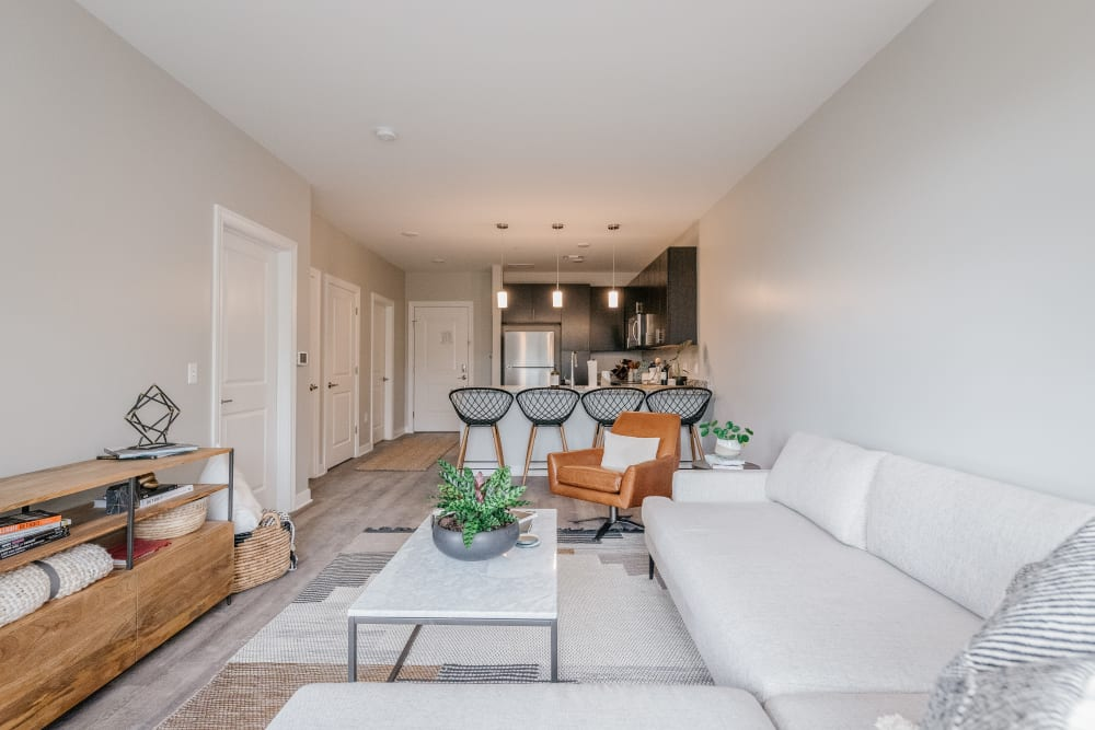 Living room layout at The Boulevard in Detroit, Michigan
