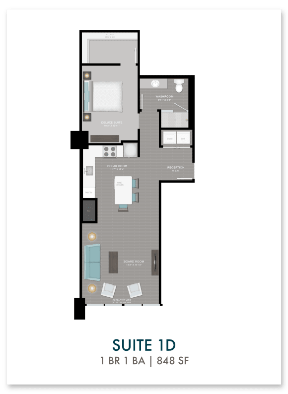 Altitude suite 1D floor plan in Atlanta, GA