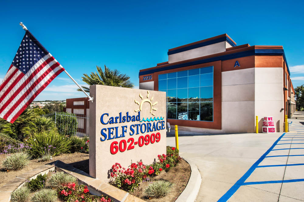 Front entrance at Carlsbad Self Storage in Carlsbad, CA