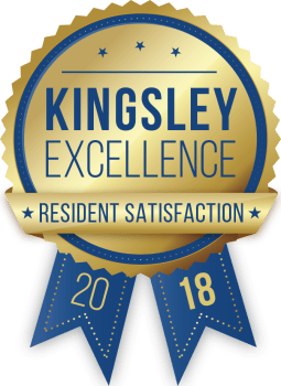 Pointe West Apartment Homes in West Des Moines, Iowa received a Kingsley Excellence Residents Satisfaction 2018 award