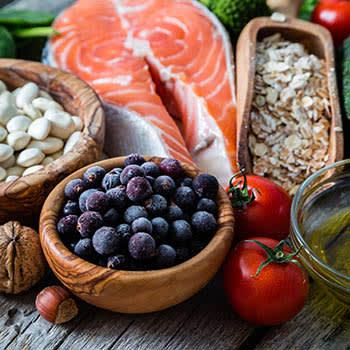A spread of healthy food at Brookstone Estates of Fairfield in Fairfield, Illinois.