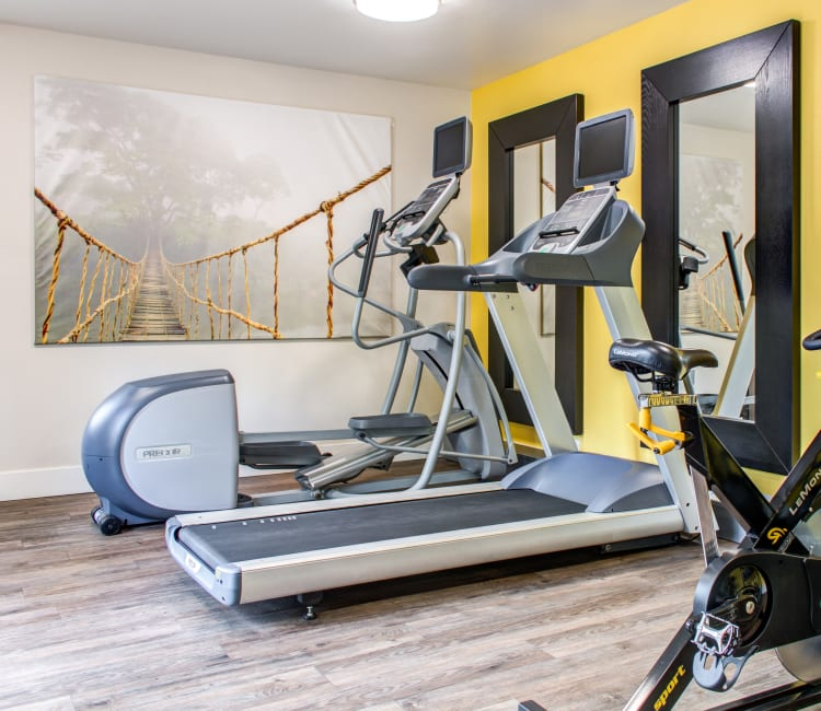 Treadmills and other cardio machines in the fitness center at Sofi Dublin in Dublin, California