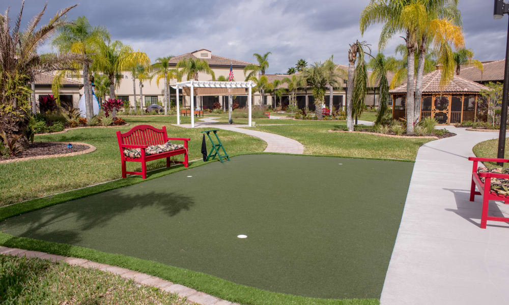 Putting green at Inspired Living in Sun City Center, Florida.